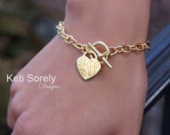 Engraved Heart Charm Bracelet With Toggle Clasp And Personalized Initials - Large Chain Bracelet - Silver, Yellow Gold or Rose Gold