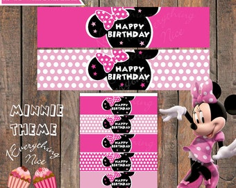 Minnie Mouse Pink Happy Birthday Water Bottle Labels