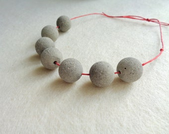 Concrete Beads 16mm, Set of 6 Hand casting beads, Do it Yourself Goncrete Necklace, Geometric Jewelry