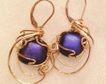 Dichroic Glass 14k gf wire wrapped earrings leverback