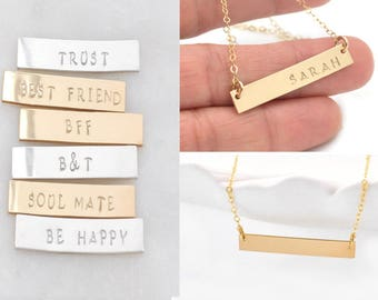 Gold Bar Necklace Personalized, Handstamped Name Necklace, Dainty Bar Necklace, Silver Bar Necklace, Custom Nameplate Necklace, Bar Necklace