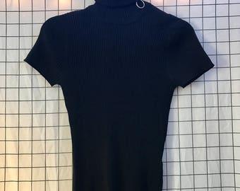 O Ring Circle Zipper Ribbed Short Sleeve Zip Up Turtleneck