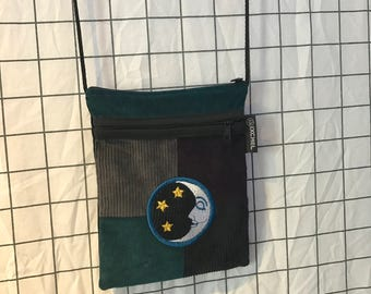 Corduroy Embroidered Stars & Moon Patchwork Crossbody Bag