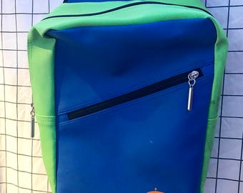 Vintage Nickolodeon Green & Blue Colorblock Rubber Bookbag/Backpack