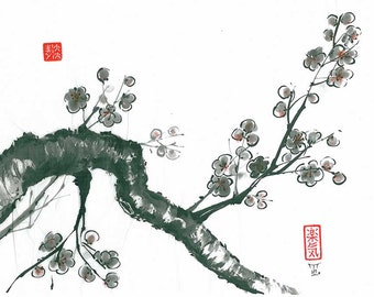 "Original sumi-e ""Spring Cherry blossoms"", Japanese art, wash ink,  Wall decor, home decor, gift for her, black, white, minimalism, painting"