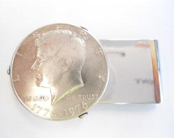 1 Silverplated Kennedy Half Dollar Money Clip