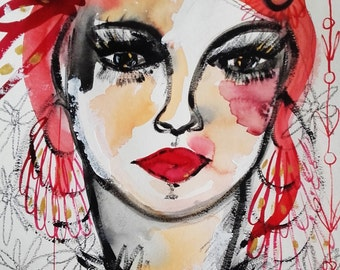 Woman Portrait Contemporary Art Portrait Wall Art Portrait Fine Art - Face Original Painting - Céline Marcoz Painting