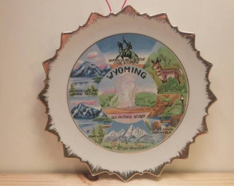 Gold Rimmed WYOMING SOUVENIR PLATE Antique and Beautiful!