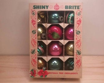 Shiny Brite Small Box of Vintage Ornaments with a mixed selection!