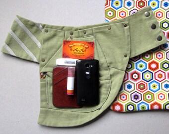 FREE SHIPPING Unique handmade light pastel apple green twill belt with big pocket
