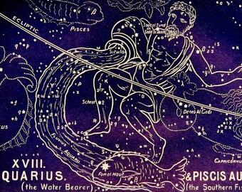 1911 Antique print of STARS. CONSTELLATIONS. AQUARIUS. Astronomy print. Zodiacal Constellations. Zodiac. 116 years old celestial chart