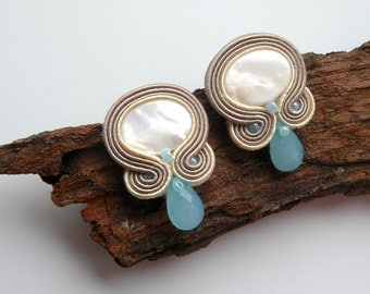 Milky earrings  - soutache earrings