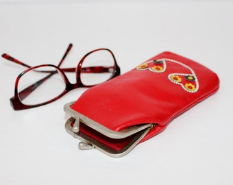 Glasses case Sunglasses case real leather Case for glasses Genuine leather glasses case Red vintage eyeglasses case Vintage Pencil case