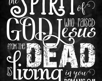 Scripture Art - Romans 8:11 ~ Chalkboard Style