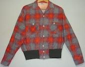 1950s Shirt / L / Gaucho / Atomic / Flannel / Shirt Jac / Rockabilly / Loop Collar / Pilgrim / Vintage 1950s Mens Clothing / Work Shirt