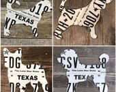 Small dog license plate wood sign 15""