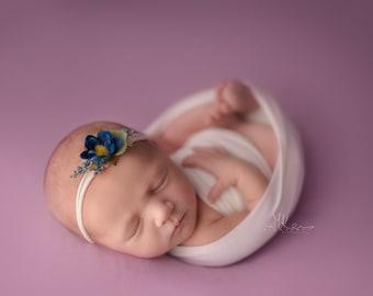 NEW Marcy Tieback, Baby Photo Prop, Organic Baby Tieback, Newborn Flower Tieback, Floral Baby Tieback, Blue Flower Headband