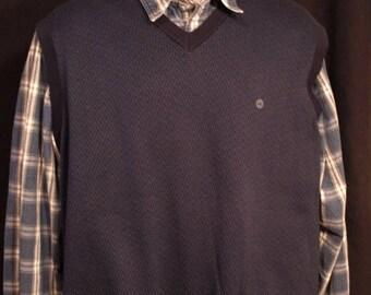 SALE SALE Dead Stock Eddie Bauer w/ tags blue vest mens , herringbone pattern,SIZE mens Xxl. cotton
