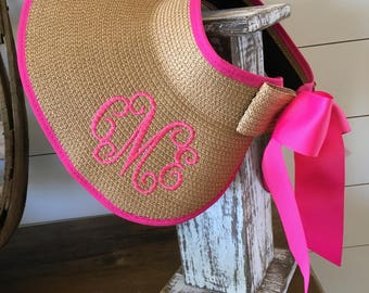Monogrammed Bow Visor / Monogrammed Sun Hat / Floppy Hat / Personalized Sun Hat / Summer Beach Hat / Pool Hat Personalized / Ribbon Hat