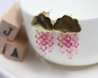 Swarovski crystals Small clouds of rain earrings -  Cherry Blossom