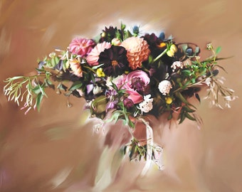 Wedding Gift - Custom Painting - Wedding Bouquet - Photo to Painting - Personalized Portrait