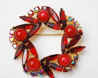 Vintage Ruby Red Rhinestone  Brooch - Christmas Wreath Pin -Cabachon  berries - Ab Rhinestones