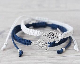 Nautical bracelet set Anchor bracelet Matching couple bracelets Macrame bracelet Couples bracelet His and her bracelet  - set of 2
