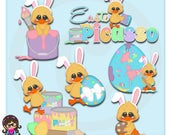 2017 Easter Picasso Ducks Clip art  Clipart Graphics  Commercial Use