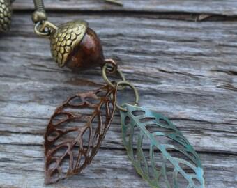 Acorn Double Leaf Earring