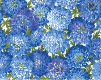 SUMMER BREEZE IV - #33281-13  -  Dahlias Royal Blue - by Sentimental Studios for Moda - Blues - Yellows - Classic