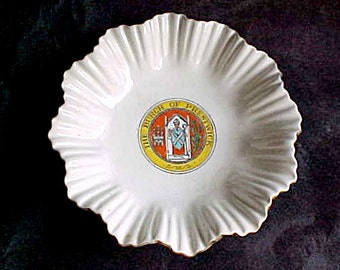 Vintage Shelley Crested Ware China - Burgh of Prestwick Scotland - Porcelain Trinket Dish, Bowl, Pin Tray - Edwardian 1920s Souvenir