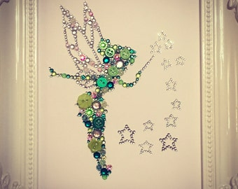 Tinkerbell Fairy Disney Gift Framed Swarovski button crystal decorations girls bedroom baby girls fairies Peter Pan baby shower
