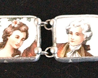 "Vintage Broken China Bracelet - ""English Gentleman and Lady-in-Waiting"""