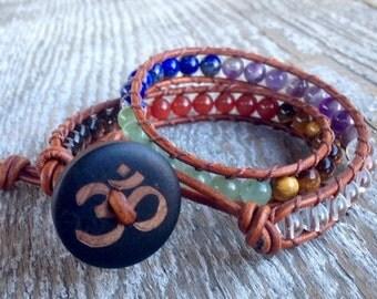 ON SALE seven chakra om leather wrap bracelet double for guys girls men women 7 chakras rainbow gemstones
