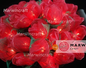 35 Red Rose Flower Fairy String Lights Party Patio Wedding Floor Table Hanging Gift for her Home Living Bedroom Floral Decor 3.5m