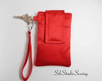 "Red Satin Wristlet, Fits iPhone 6, 7, Smartphone up to 5.75"" x 3.5"", Key Ring, Pocket, Red Satin Smartphone Clutch, Bridesmaid Wristlet"