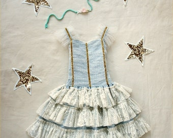 Ada Vintage Party or flower girl dress for toddlers, girls, baby ballet style with lace and gold photo prop