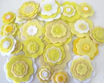 Bulk Felt Flowers, 20 Craft flower Embellishments