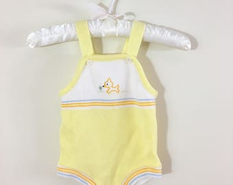 Vintage Unisex Baby Yellow Knit Onesie with Embroidered Fox, 0 to 3 Months