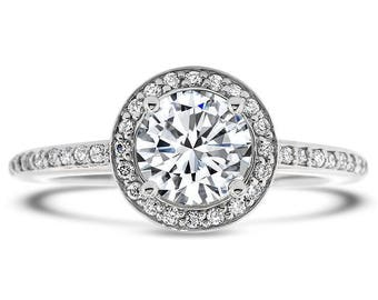 RESERVED for Client - Diamond Halo Moissanite Engagement Ring - Fleur De Lis