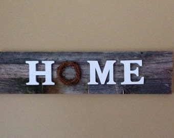 Wood HOME sign