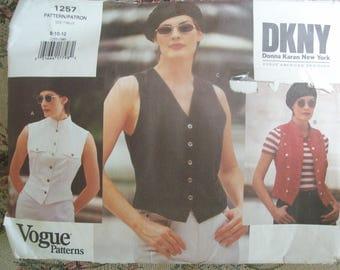 Vogue 1257 DKNY  Misses Vest Pattern Vintage 90's Cut