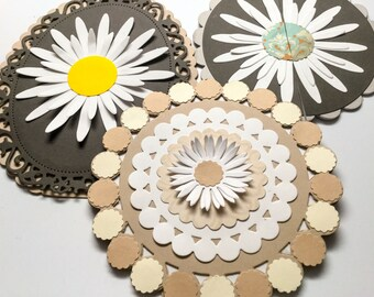 Set of 3 handmade cards - circle cards - oval cards - black - white flower - Daisy - cream - tan - scallops