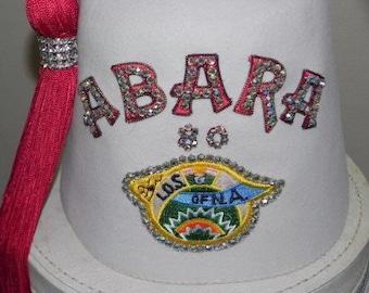 Vintage Oriental Shriner Masonic Fez Hat W/Box-L.O.S. Of NA Fort Myers