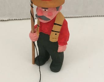"Miniature Composite Figurine 2"" Fisherman Dollhouse Miniature"