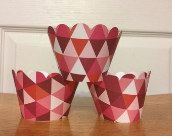 Pink Geometric Triangles Cupcake Wrappers set of 12 Ready to Ship