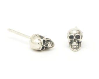 Tiny Skull Stud Earrings - Calvariam Skull Studs - Single or Pair - Sterling Silver