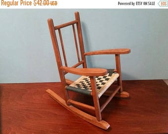 SALE - Miniature Wood Rocking Chair with Woven Seat