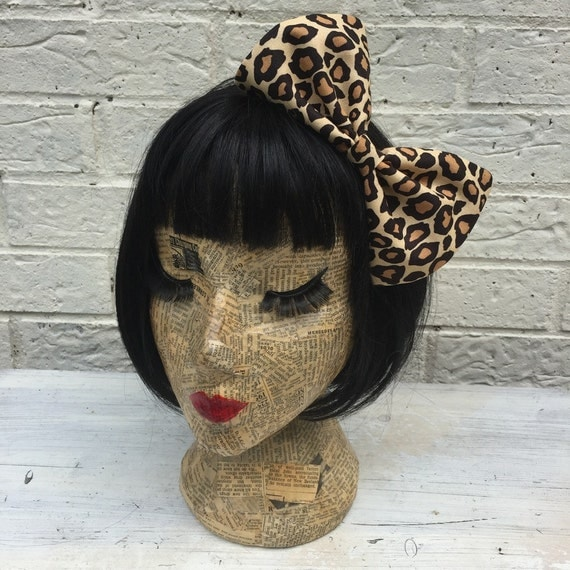 Leopard print large Bow hair clip rockabilly pinup inspired