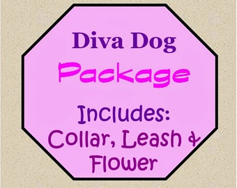Collar, Leash and Flower Package!, Dog Flower Set - Available in all Dog Collar Listings - Fabric nam